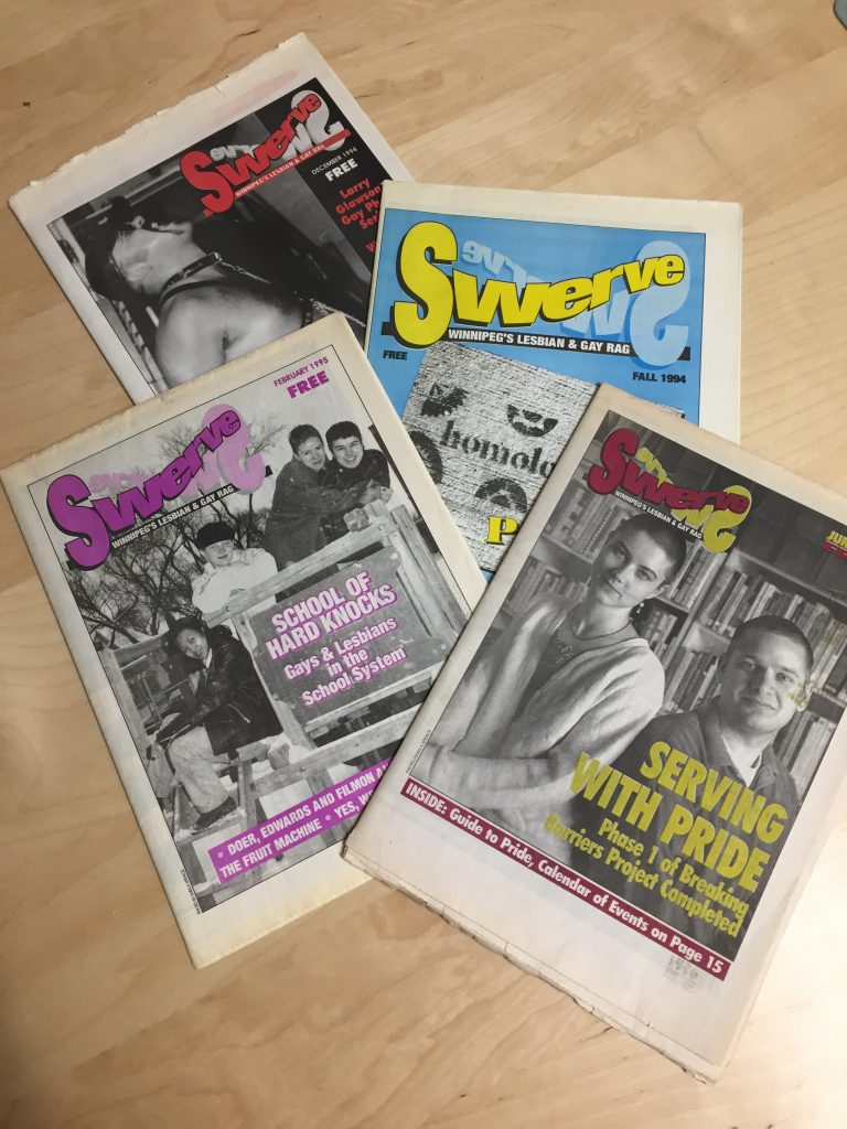 Photo of four copies of the magazine Swerve.
